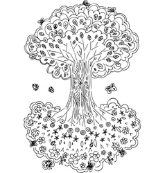Black and white tree of life vector image vector image