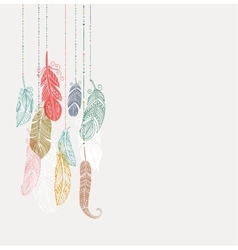 Bohemian style poster with gypsy colorful feathers vector