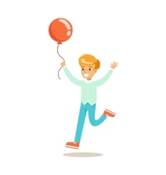 Boy running with balloon traditional male kid vector
