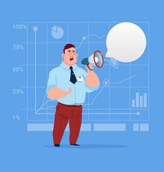 Business man hold megaphone loudspeaker digital vector