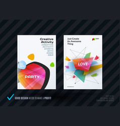 Business set of design brochure abstract annual vector