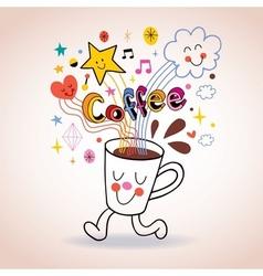 Cartoon coffee cup cute character vector
