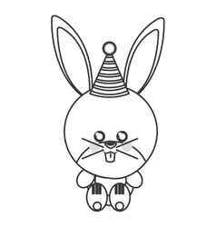 cute baby rabbit with hat party vector image