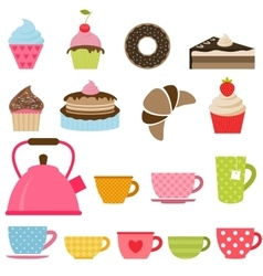 Delicious cakes cupcakes and tea cups vector
