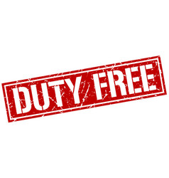 Duty free square grunge stamp vector