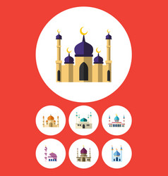 Flat icon mosque set of architecture islam vector