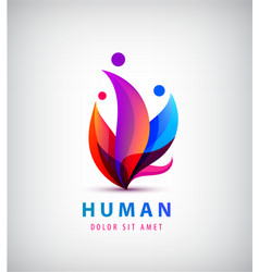 Human logo group of people colorful icon vector