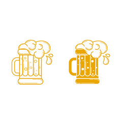 Icon glass of beer linear style vector