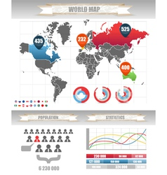 Infographics Earth map and different charts vector image vector image