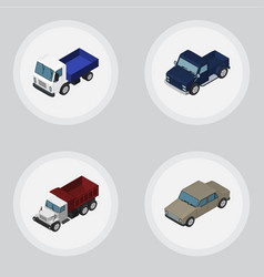Isometric automobile set of lorry suv auto and vector
