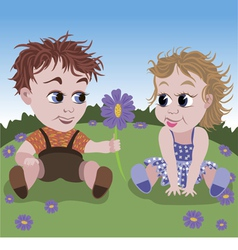 little boy giving flower to girl vector image