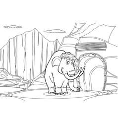 Mammoth near cave vector