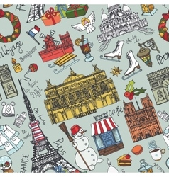 Paris winterDoodle landmarks seamless pattern vector image vector image