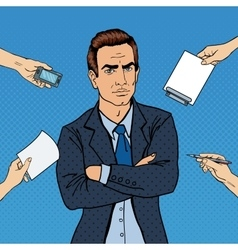 Pop Art Confident Businessman at Office vector image