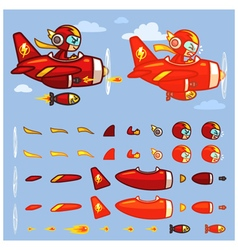 Red Thunder Plane Game Sprites vector image vector image