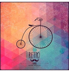 Retro bicycle on hipster background made of vector image vector image