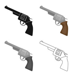 Revolver icon in cartoon style isolated on white vector