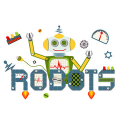 robots logo text isolated on white background vector image vector image