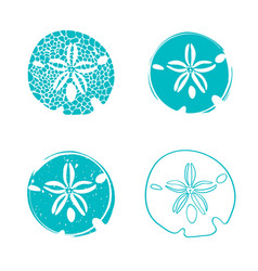 Sea sand dollar design set vector