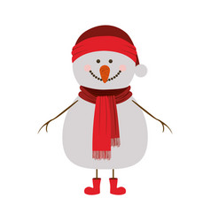 silhouette of snowman with red cap and scarf and vector image