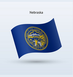 state of nebraska flag waving form vector image vector image