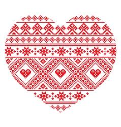 Traditional ukrainian folk art heart pattern vector
