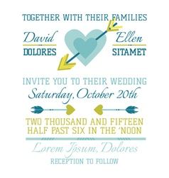 Wedding vintage invitation - heart and arrows vector