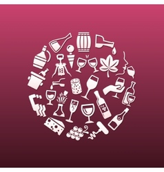 Wine icons in circle vector