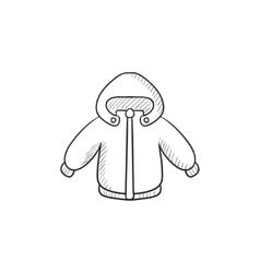 Winter jacket sketch icon vector image
