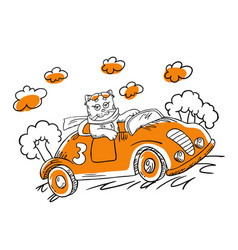 With cartoon cat in a car vector