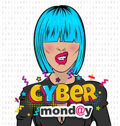 Woman pop art computer hacker cyber monday vector