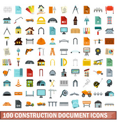 100 construction document icons set flat style vector