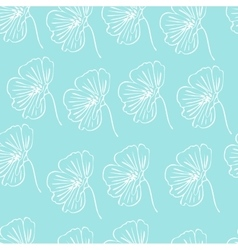 Flower doodle seamless pattern drawn in outline vector image