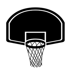 Silhouette monochrome with rounded basketball hoop vector