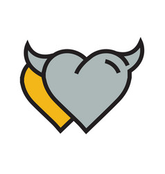 Devil heart icon twins yellow vector