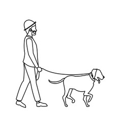 Bearded gentleman man walking with dog outline vector