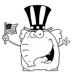 Royalty free rf clipart patriotic elephant waving vector