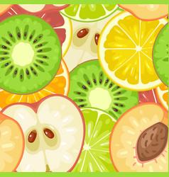 Seamless pattern fruits slice apple kiwi peach vector