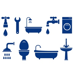 isolated bath objects on white background vector image