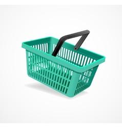 shopping basket green vector image