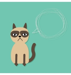 Cute sad grumpy siamese cat and scribble speech vector
