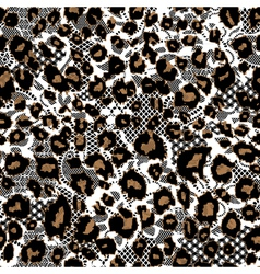 Leopard fur with lace background vector image