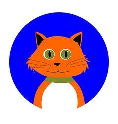 Cartoon red cat in circle vector