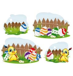 Outdoor easter scene vector