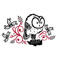 Owls floral vector