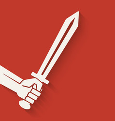 Hand with sword symbol vector