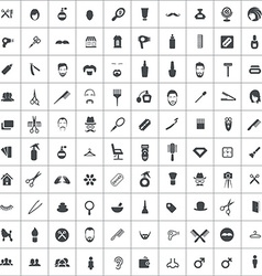 100 barbershop icons vector