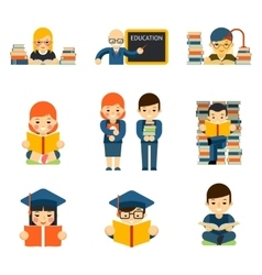 Students and children study in class room vector