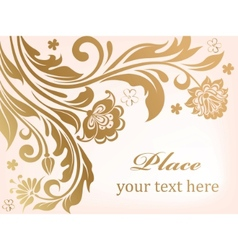 Gold floral background with decorative flowers vector