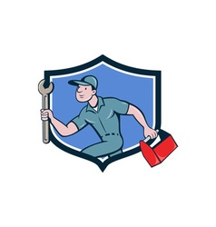 Mechanic spanner toolbox running crest cartoon vector